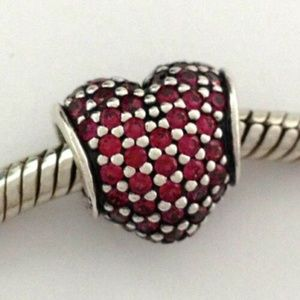PANDORA Sterling  Pave Heart Red Crystal ChaRM